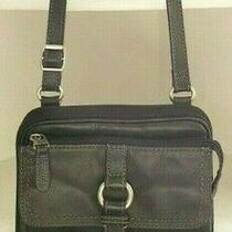Fossil Crossbody Black Leather Shoulder Bag Purse Organizer Travel Wallet Lined Photo