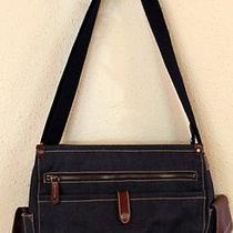 Fossil Crossbody Book Bag Messenger Purse Chambray Leather Photo