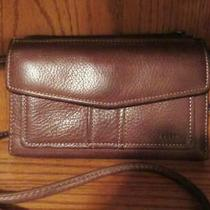 Fossil Crossbody Brown Leather Organizer Shoulder Bag Wallet Photo