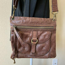 Fossil Crossbody Brown Leather Shoulder Bag Handbag Purse Adjustable Strap Photo