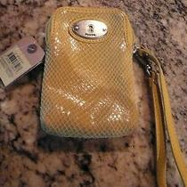 Fossil Crossbody Carryall Purse Mineral Yellow Organizer Compartment New Tags   Photo