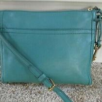 Fossil Crossbody Clutch Purse Emerald Green Leather Removable Strap Excellent Photo