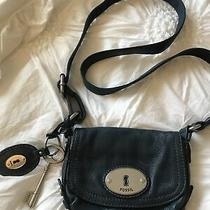 Fossil Crossbody Handbag Purse Blue Leather With Key Logo Adjustable Strap Nwot Photo