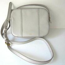 Fossil Crossbody Handbag Purse Light Gray Pebbled Leather Small Photo