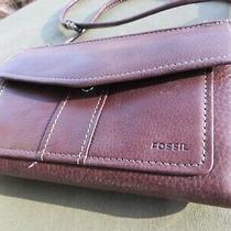 Fossil Crossbody Leather Wallet Bag Purse Clutch Card Organizer Brown Clean Photo