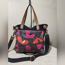 Fossil Crossbody Messenger Bag Black Coated Canvas Shoulder Bag Purse Handbag Photo