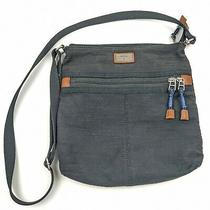 Fossil Crossbody Messenger Bag Zip Pockets Leather Accents Photo