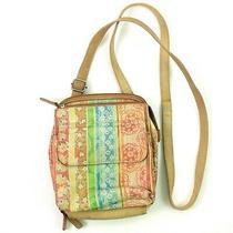 Fossil Crossbody Messenger Brown Floral Leather Small Handbag Organizer Purse A8 Photo