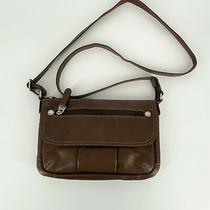 Fossil Crossbody Organizer Bag Brown Leather Adjustable Strap Zip Top Photo