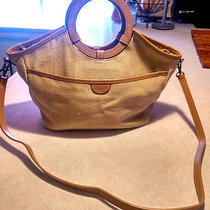 Fossil Crossbody Purse Beige Weave Canvas Handbag Photo