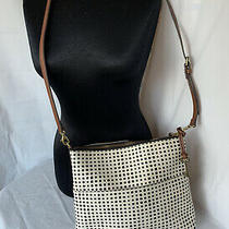 Fossil Crossbody Purse Black & White Polka Dots Coated Canvas and Leather Photo
