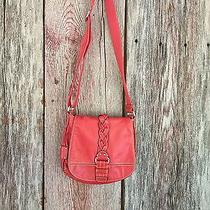 Fossil Crossbody Purse Euc Braided Medium Orange Red Shoulder Bag Photo