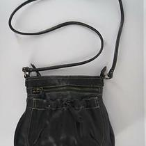 Fossil Crossbody Purse Handbag Size S Black Leather Zip Top Long Strap Pocket Photo