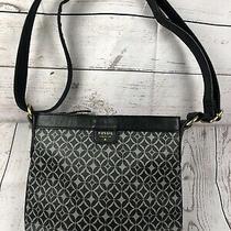 Fossil Crossbody Shoulder Bag Purse Black Leather Silver Hardware Adj Strap Photo