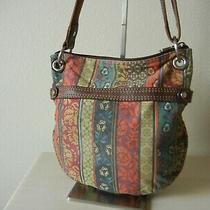 Fossil Crossbody Traveler Bag Leather/jacquard Floral Shoulder Purse Messenger Photo