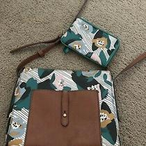 Fossil Crossbody & Wristlet Set Brown Turquoise Pink Tan White Print Photo