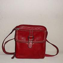 Fossil Crosstown Camera Bag Cross Body Red Pebbled Leather  Photo