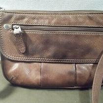 Fossil Crosstown Small Brown Genuine Leather Crossbody Bag Purse Front Flap  Photo