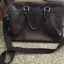 Fossil Dark Brown Leather Briefcase/messenger Bag Photo