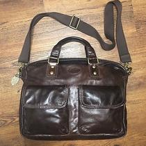 Fossil Dark Brown Leather Crossbody Messenger Book Bag Laptop Business Mens L Photo