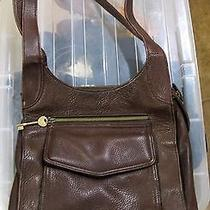 Fossil Dark Brown Leather Shoulder Bag Purse Organize Tote 1954 Key Photo