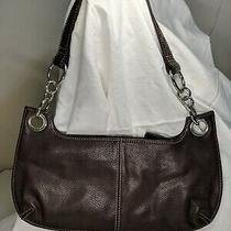 Fossil Dark Brown Pebbled Leather Shoulder Baguette Purse Silver Ring Hardware Photo