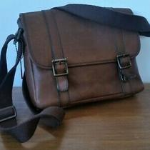 Fossil Dark Brown Thick Leather Messenger Shoulder Bag - Lovely Condition Photo