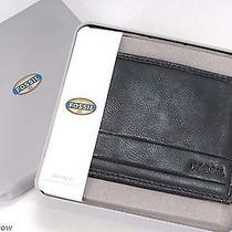 Fossil Darren Bi-Fold Wallet Rich Black Leather 8 Cc Slots New in Box Tags  4032 Photo