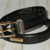 Fossil Decorative Black Leather Belt Size L Photo