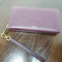 Fossil Deep Burgundy Pebbled Leather Swivel Wristlet Wallet - Gold Tone Hardware Photo