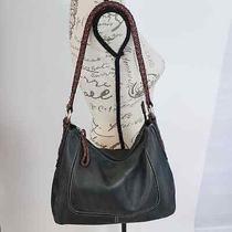 Fossil Deep Dark Green Braided Strap Leather Hobo Bag Purse Shoulder Bag Photo