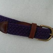 Fossil Deep Purple Brown Leather Trim Womens Belt Size S Photo