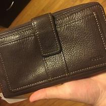 Fossil Deluxe Zip Leather Clutch Espresso Brown - Brand New With Tags Photo