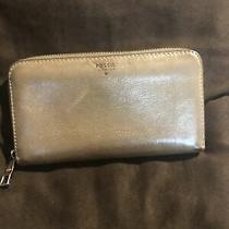 Fossil Designer Beige Metallic Leather Zip Around Clutch  Wallet Photo