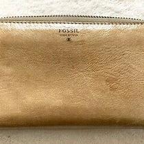 Fossil Designer Beige Metallic Leather Zip Around Clutch Wristlet Strap Wallet Photo