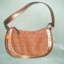 Fossil Designer Handbag Woven Brown Wood Key 75082 Euc Photo