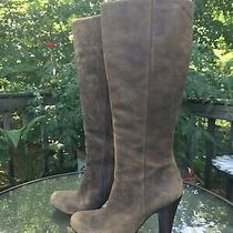 Fossil Distressed Brown Soft Nubuck Leather Tall Heel Boots Women's Size 7 Photo