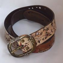 Fossil Distressed Floral Cutouts Leather Belt Brass Tone Buckle Belt Womens M Photo