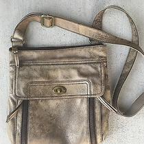 Fossil Distressed Gold Crossbody Hipster Purse Photo