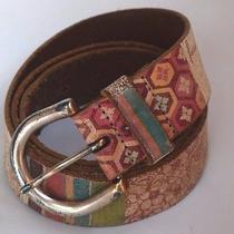 Fossil Distressed Multi-Colored Leather Belt Silver Tone Buckle Belt Womens M Photo