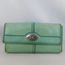 Fossil Distressed Teal Leather Larger Trifold Wallet/organizer See Details Photo