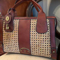 Fossil Double Handled Caned Deep Brown and Tan Leather Tote Photo