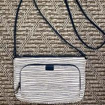 Fossil Double Zip Blue  and White Striped Crossbody Purse Photo