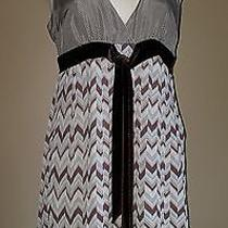 Fossil Dress Size Medium M Sleeveless Chevron Pleat Brown Silk Womens Photo