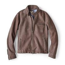 Fossil Dylan Leather Racer Putty Men's Motorcycle Jacket - Size M Photo