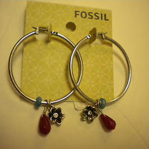 Fossil Earrings Hoops With Gems and Flower Nwt Photo