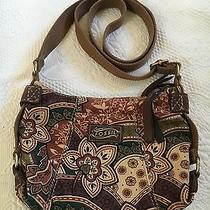 Fossil Earthy Tone Flowered Cloth Cross Body Shoulder Bag Photo