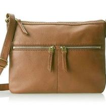 b0188ce00afc Fossil Elise Brown Pebble Leather Crossbody Messenger Bag Purse Large  nwt158.00 Photo