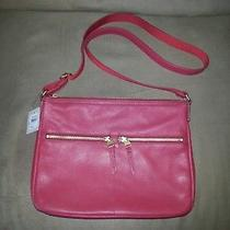Fossil-Elise-Red Pebble Leather Crossbody Messenger Bag-New With Tags Photo