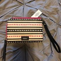 Fossil Eliza Wristlet Wallet Pink Dots Small 55 Nwt Photo